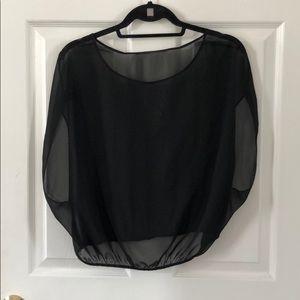 American apparel black sheer chiffon blouse